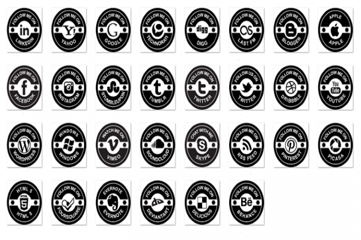 Retro social badge