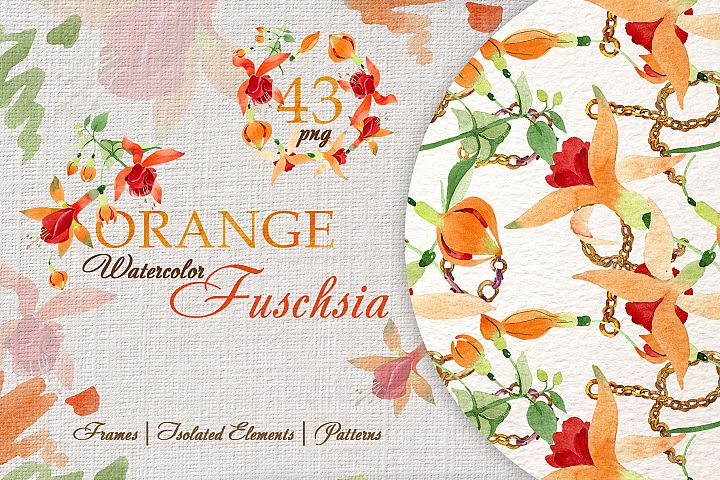 Orange Fuschsia Flower Watercolor png