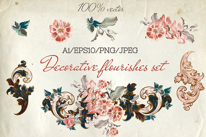 Collection of vector vintage flourishes with flowers Vol.3