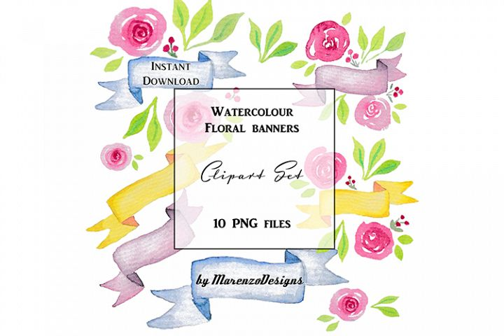 Watercolour floral banners clipart set