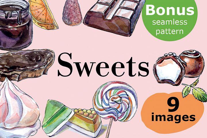 Watercolor sweets & bonus seamless pattern!