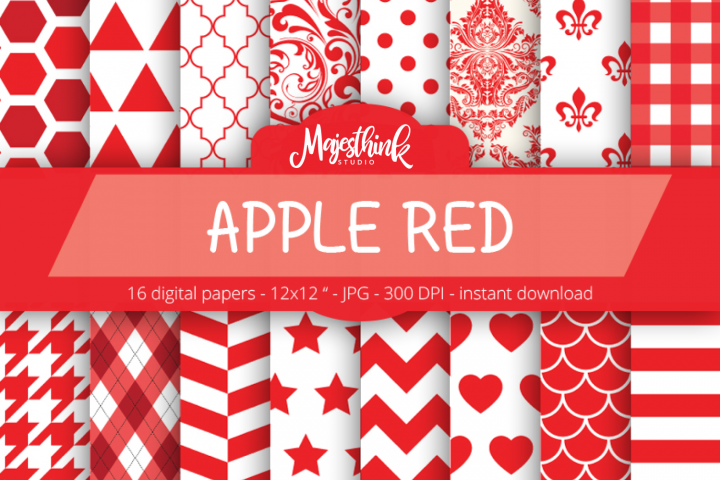 Apple Red Digital Paper - with polkadot, stripe, chevron, quatrefoil, floral, damask, hexagon, triangle red pattern for Scrapbooking
