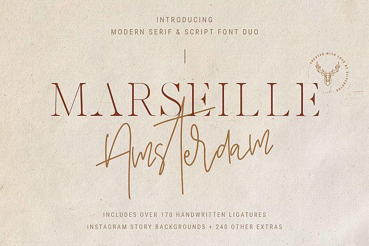 Marseille & Amsterdam - Modern Serif & Signature Font Duo