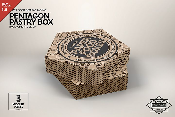 Pentagon Pastry Box Packaging Mockup