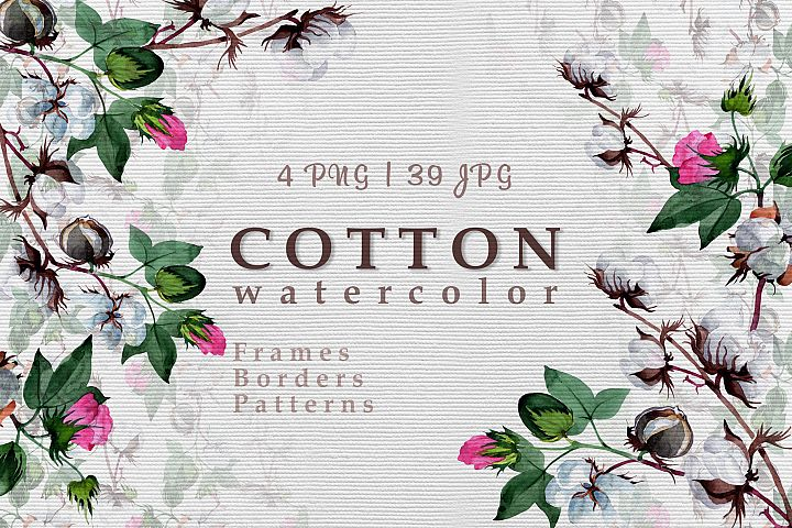 Cool cotton PNG watercolor set example 1
