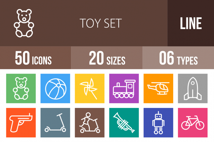 50 Toy Set Line Multicolor B/G Icons