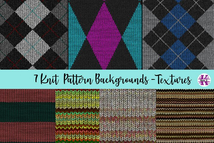 7 Knit Pattern Backgrounds - Textures JPG