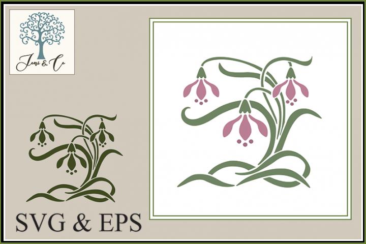 Art Nouveau Flower 3 - Snowdrops