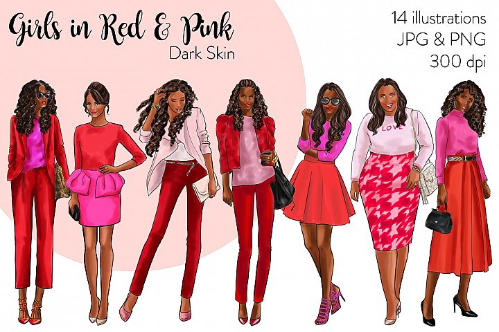 Fashion illustration clipart-Girls in Red and Pink-Dark skin