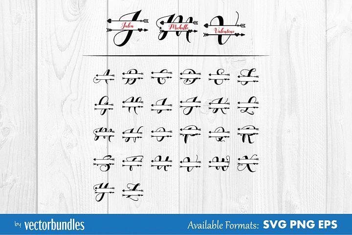 Love monogram split letter svg