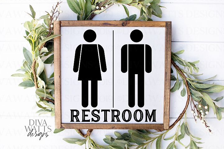 Restroom With Woman Man Figures People - Farmhouse Sign SVG