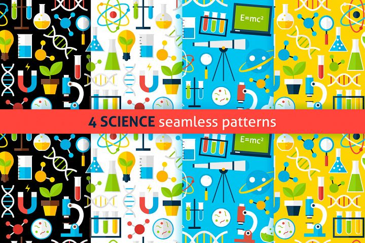 Science Flat Seamless Patterns