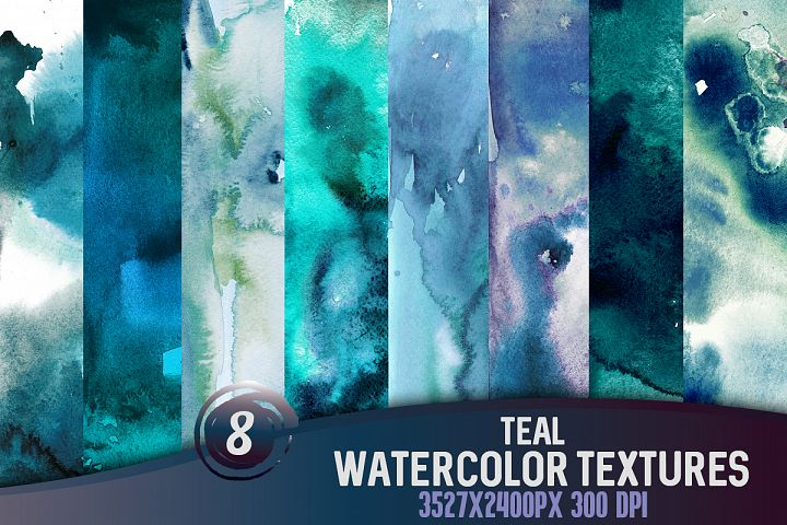 8 Teal watercolor textures, HQ 3527x2400px 300 DPI JPG