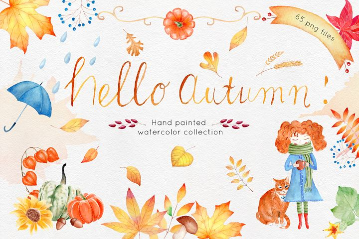 Watercolor Autumn Clipart Collection