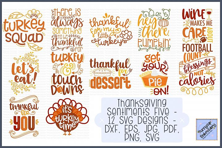 Thanksgiving Sentiments Five - 12 SVG, Clipart, Printables