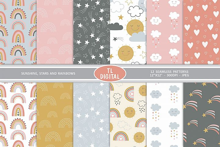 Sunshine Stars and Rainbows - 12 Seamless Patterns - JPEG