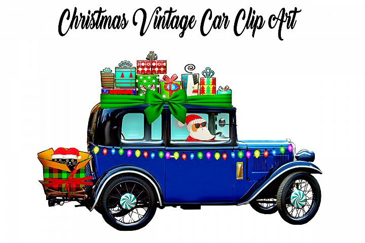 Christmas Vintage Car Clip Art with Santa, Cats & Gifts