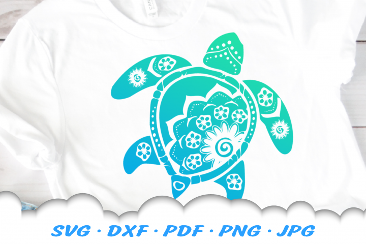 Mandala Floral Sea Turtle SVG DXF Cut Files