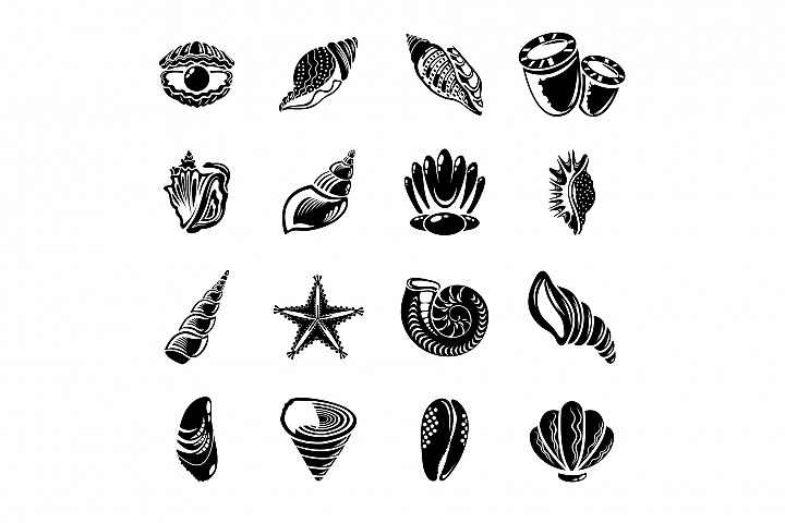 Tropical sea shell icons set, simple style