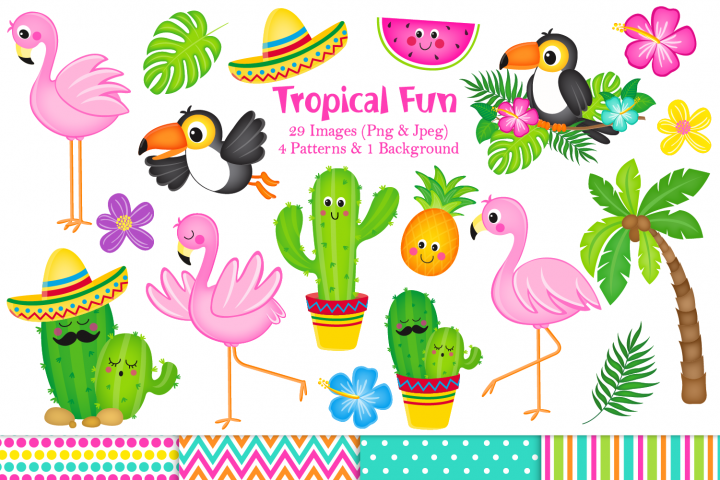 Flamingo clipart, Flamingo graphics & Illustrations, Cactus