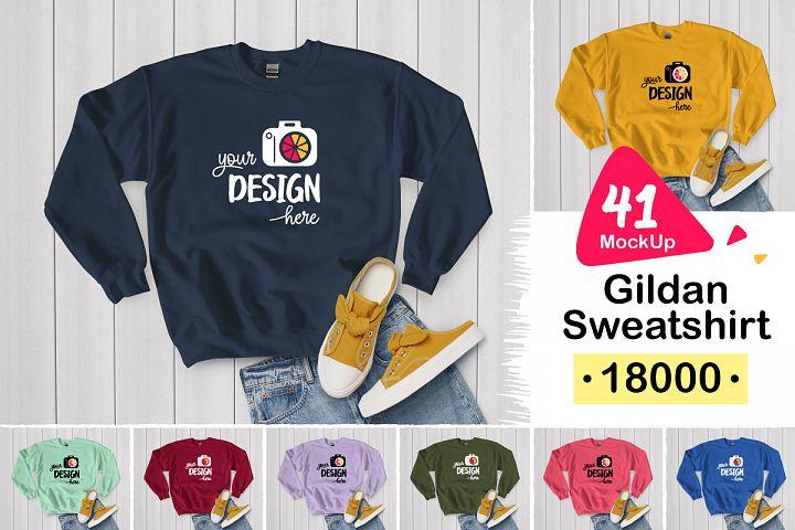 Gildan Sweatshirt 18000 white wood 006