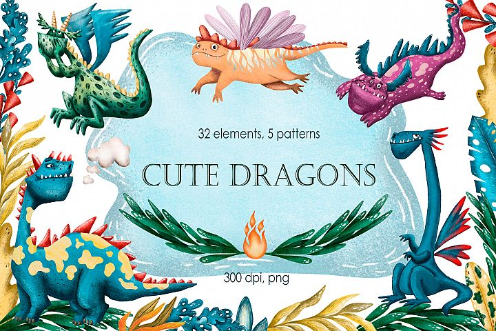 Cute Dragons - Clip Art Set