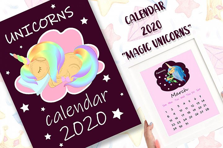2020 Calendar Magic Unicorns