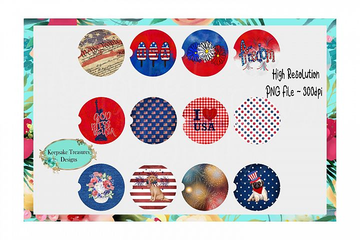 4th of July Car Coaster Design Bundle