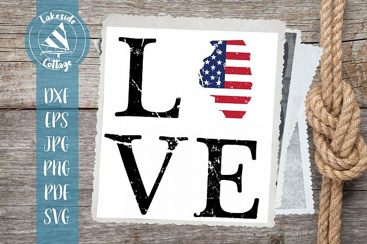LOVE Illinois - 4th of july svg - memorial day svg dxf eps