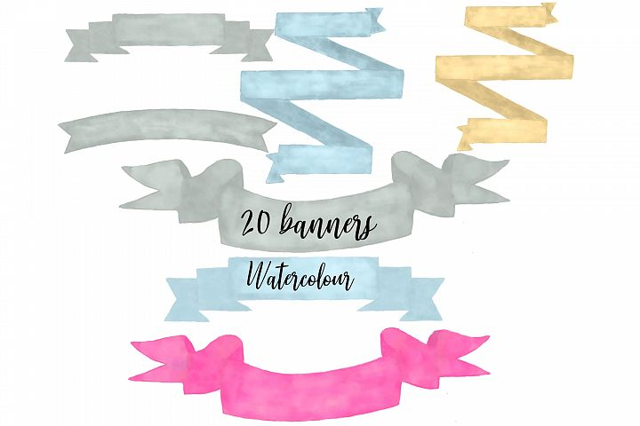 watercolour banners png clipart hand drawn in 4 colours