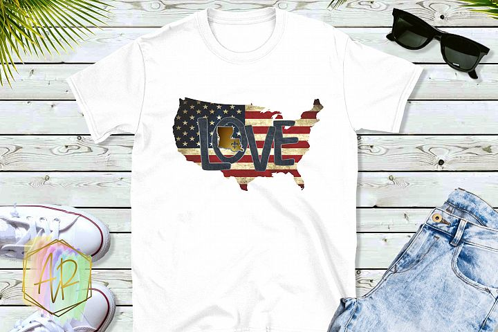 Sublimation Louisiana Home State Country Map with flag Fleur