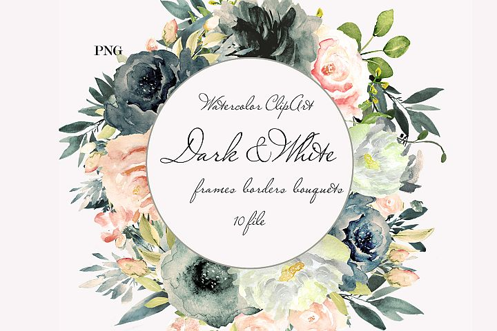 Black White Watercolor Floral Clipart Wedding Floral Wreath