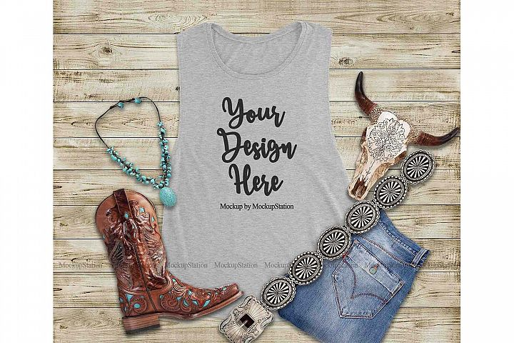 Southwest Grey Tank Top Mock Up, Texas Bella Canvas 8803