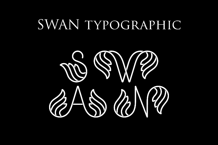 Swan Typographic Letter A-Z Alphabet SVG PNG EPS AI