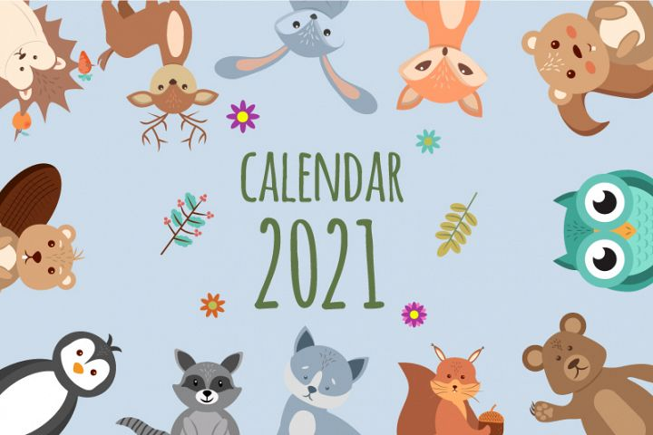 Funny and cute animals. Beautiful childrens calendar 2021