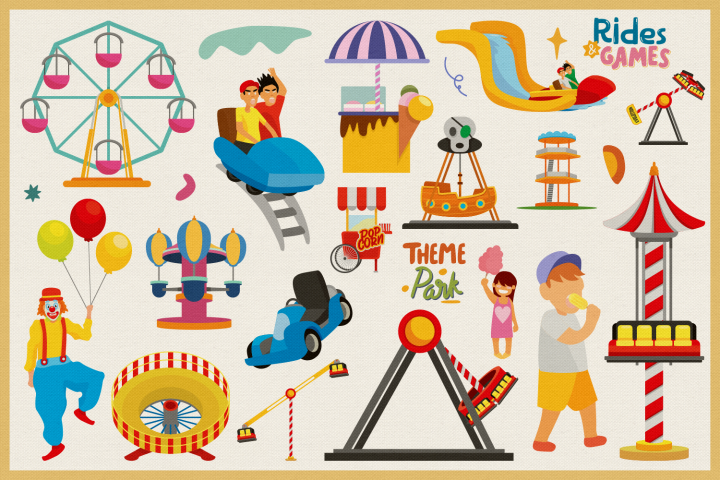Amusement Park Vector Clipart and Seamless Pattern example image 4