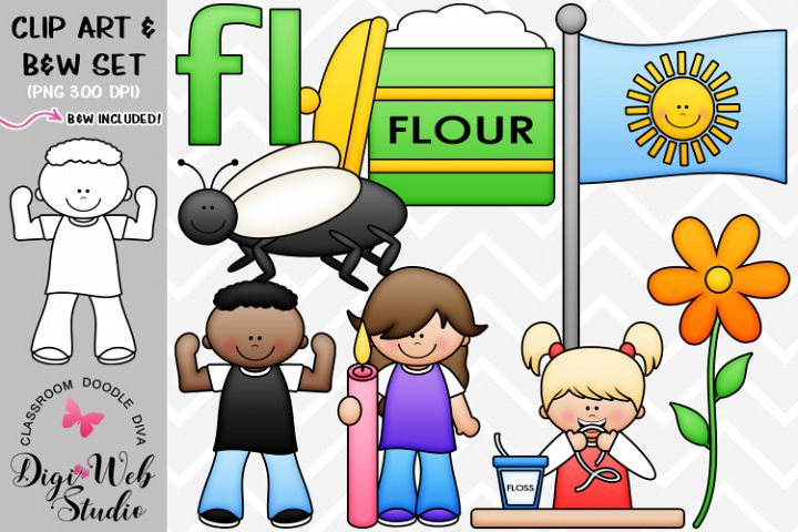 Clip Art / Illustrations - L Blends - fl Phonics