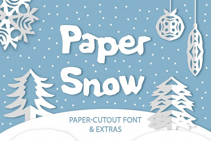 Paper snow. Cut out font & extras.