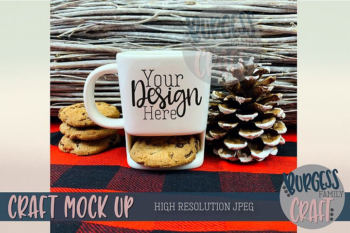 Plaid holiday cookie mug Craft mock up  High Res JPEG