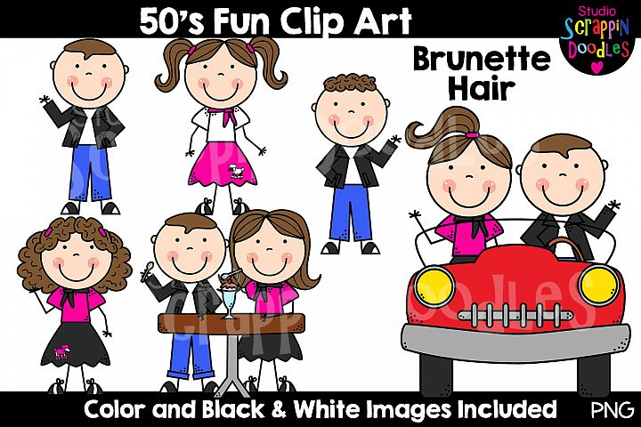 Fifities Fun Clip Art - Various Hair & Skin Tones