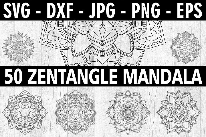 50 Zentangle Mandala SVG EPS PNG 6 Point Mandala Bundle SVG