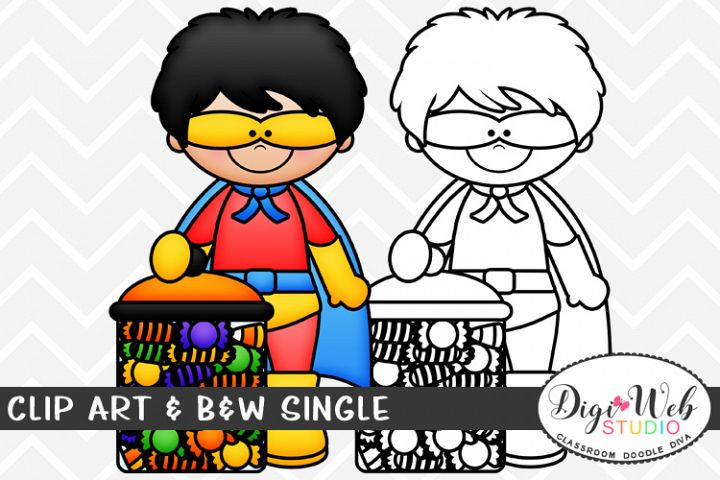 Clip Art & B&W Single - Superhero Boy w/ Halloween Candy