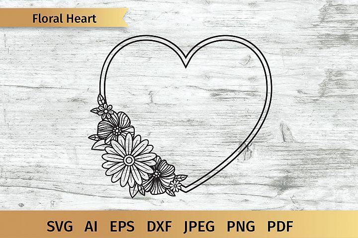 Floral Heart SVG