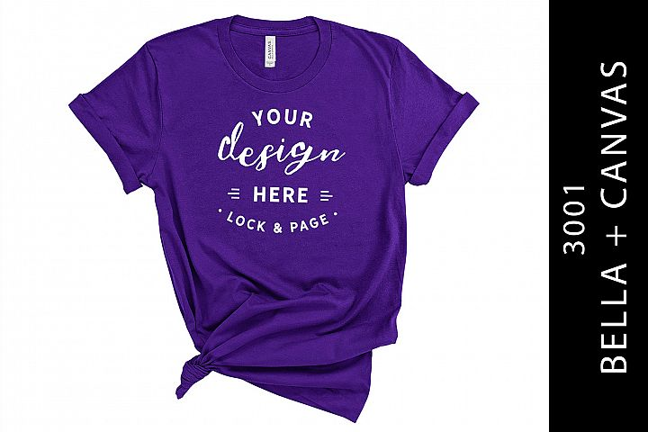 Womens Team Purple Bella Canvas 3001 Mockup On White