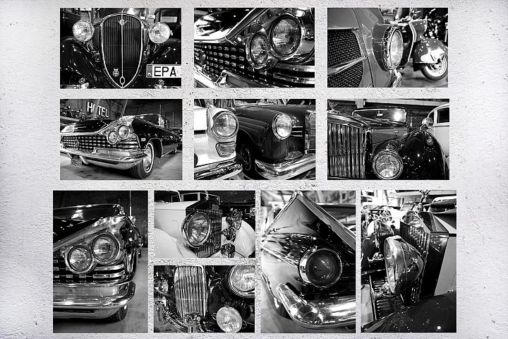 set of photo cars, retro cars, vintage auto, old car