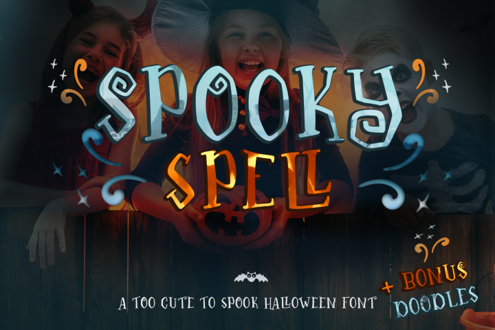 Spooky Spell Font - A Halloween Crafters Font with Doodles
