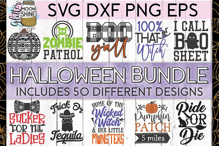 Huge Halloween Bundle of 50 SVG DXF PNG EPS Cutting Files
