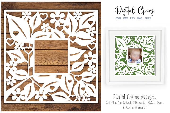 Floral frame paper cut design. SVG / DXF / EPS / PNG file