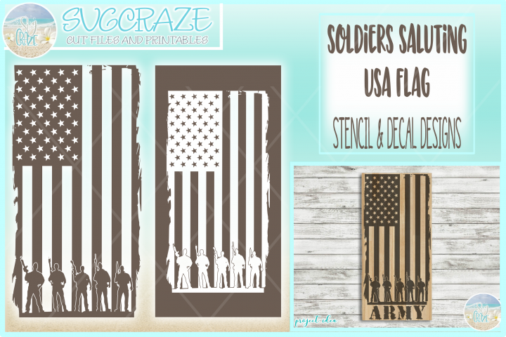 Usa Flag Soldiers Military Stencil Decal SVG DXF EPS PNG PDF