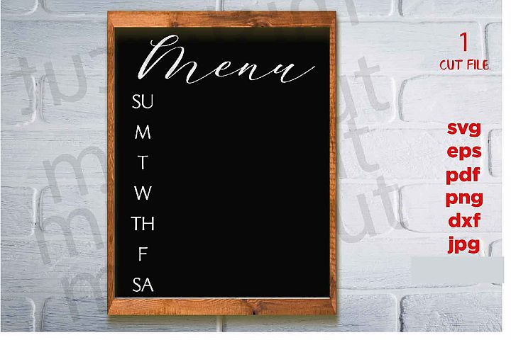 Menu svg, Weekly Menu svg, Menu Board svg, home sign svg, dx